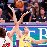 21 November 2017: Jump-off between Chicago Bulls center Robin Lopez (42) and Los Angeles Lakers center Brook Lopez (11) during the LA Lakers 103-94 victory over the Chicago Bulls, at the Staples Center, Los Angeles, California, USA.
