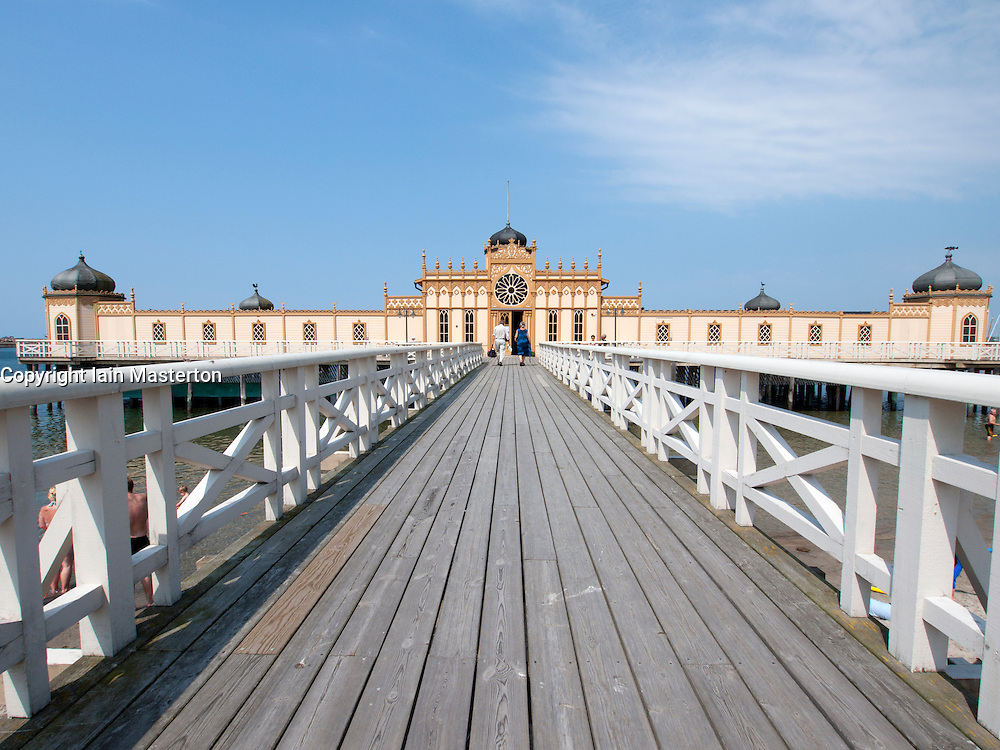 The historic pier swimming pool or Kallbadhuset in Varberg in Halland Sweden