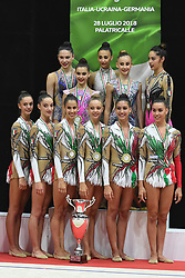 July 28, 2018 - Chieti, Abruzzo, Italy - Italian Rhythmic gymnasts during the Rhythmic Gymnastics pre World Championship Italy-Ukraine-Germany at Palatricalle on 29th of July 2018 in Chieti Italy  (Credit Image: © Franco Romano/NurPhoto via ZUMA Press)