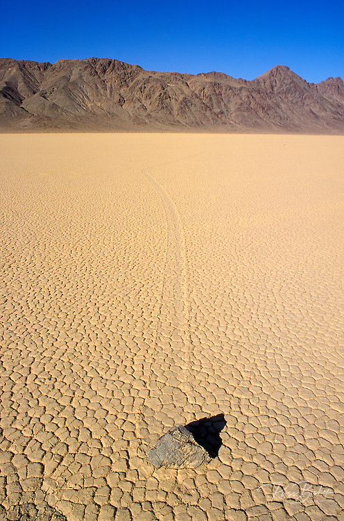 Mysterious moving rocks on the playa at The Racetrack, Death Valley National Park, California