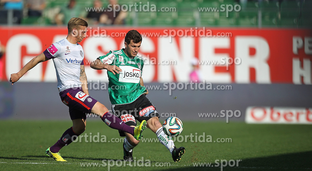 30.03.2014, Keine Sorgen Arena, Ried im Innkreis, AUT, 1. FBL, SV Josko Ried vs FK Austria Wien, 30. Runde, im Bild Daniel Royer (FK Austria Wien, #28) und Andreas Schicker, (SV Josko Ried, #6) // during Austrian Football Bundesliga Match, 30th round, between SV Josko Ried and FK Austria Wien at the Keine Sorgen Arena, Ried im Innkreis, Austria on 2014/03/30. EXPA Pictures © 2014, PhotoCredit: EXPA/ Roland Hackl