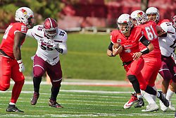 NORMAL, IL - October 13:  Chad Kanugh provides some blocking for Brady Davis on a keeper run but Tyree Jackson is in pursuit during a college football game between the ISU (Illinois State University) Redbirds and the Southern Illinois Salukis on October 13 2018 at Hancock Stadium in Normal, IL. (Photo by Alan Look)