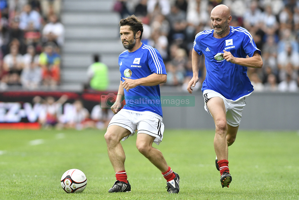 Bixente Lizarazu and Fabien Barthez during the during the France 98 V Stade Toulousain match at the Ernest Wallon stadium in Toulouse, France, on July 10, 2017. Photo by Pascal Rondeau/ABACAPRESS.COM