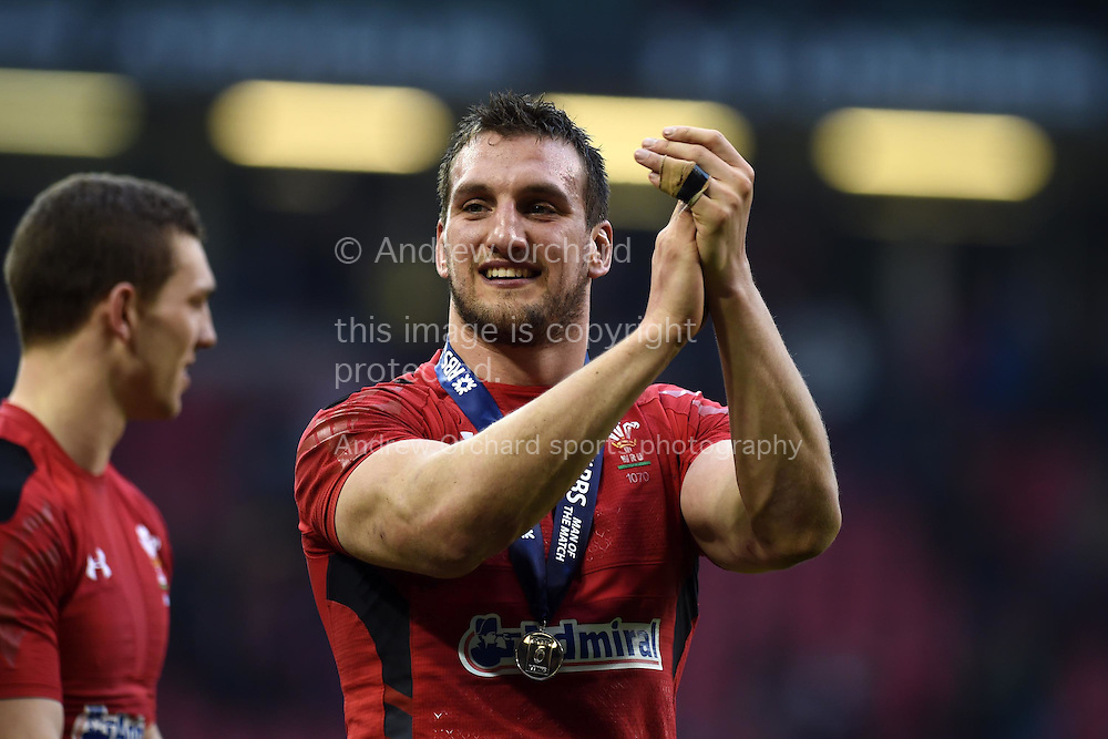 Wales rugby captain Sam Warburton celebrates his teams win at end of match. RBS Six nations 2015 championship, Wales v Ireland  at the Millennium stadium in Cardiff, South Wales on Saturday 14th March 2015<br /> pic by Andrew Orchard, Andrew Orchard sports photography.