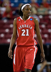 March 27, 2010; Sacramento, CA, USA; Georgia Bulldogs forward Porsha Phillips (21) during the first half against the Stanford Cardinal in the semifinals of the Sacramental regional in the 2010 NCAA womens basketball tournament at ARCO Arena.  Stanford defeated Georgia 73-36.