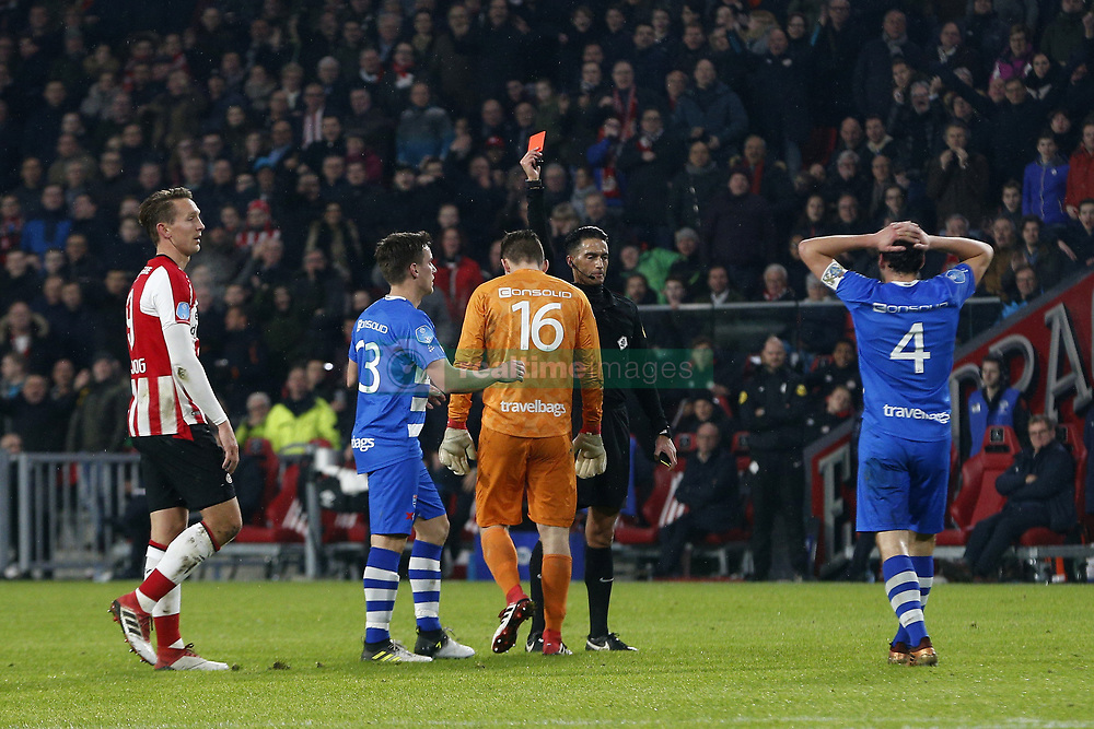 goalkeeper Mickey van der Hart of PEC Zwolle (CL), Referee Serdar Gozubuyuk (CR) during the Dutch Eredivisie match between PSV Eindhoven and PEC Zwolle at the Phillips stadium on February 03, 2018 in Eindhoven, The Netherlands