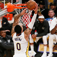 25 December 2017: Los Angeles Lakers forward Kyle Kuzma (0) goes for the dunk during the Minnesota Timberwolves 121-104 victory over the LA Lakers, at the Staples Center, Los Angeles, California, USA.