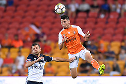 December 17, 2017 - Brisbane, QUEENSLAND, AUSTRALIA - Connor O'Toole of the Roar (14, right) heads the ball during the round eleven Hyundai A-League match between the Brisbane Roar and the Melbourne Victory at Suncorp Stadium on Sunday, December 17, 2017 in Brisbane, Australia. (Credit Image: © Albert Perez via ZUMA Wire)