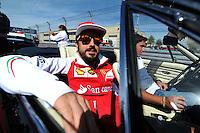 Fernando Alonso (ESP) Ferrari on the drivers parade.<br /> United States Grand Prix, Sunday 2nd November 2014. Circuit of the Americas, Austin, Texas, USA.