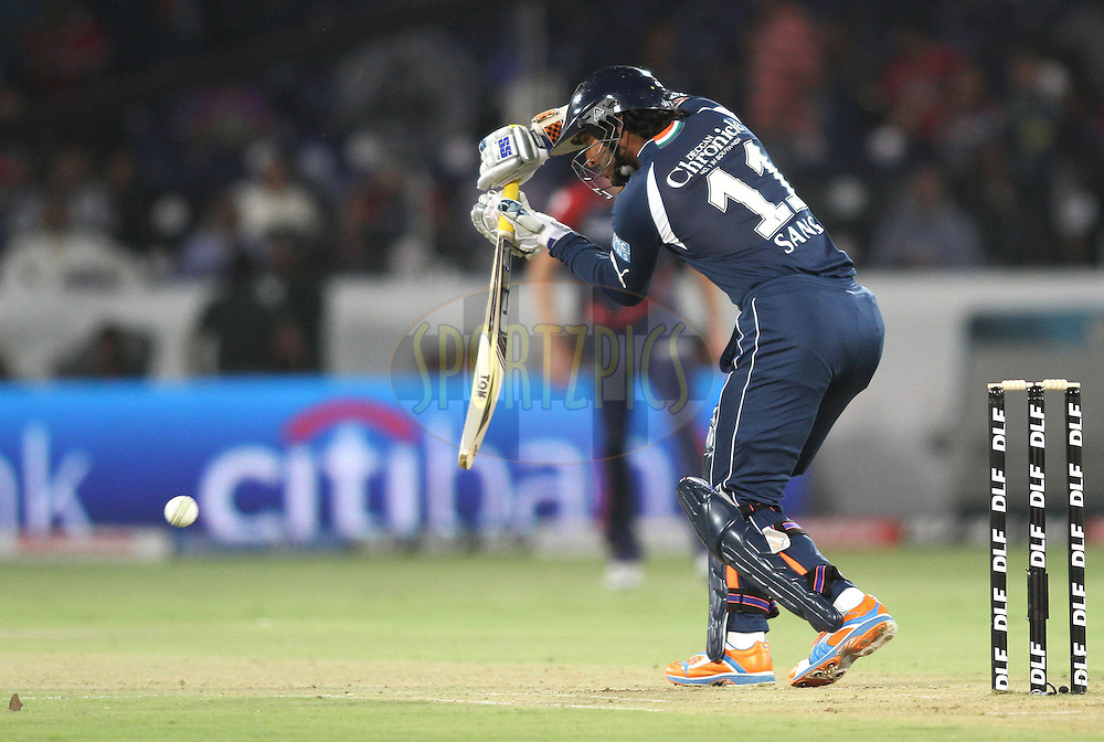 Captain Kumar Sangakkara of the Deccan Chargers plays defensively during match 46 of the Indian Premier League ( IPL ) between the Deccan Chargers and the Delhi Daredevils held at the Rajiv Gandhi International Cricket Stadium in Hyderabad on the 5th May 2011..Photo by Shaun Roy/BCCI/SPORTZPICS