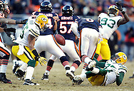 .Green Bay Packers' Sam Shields sacked Chicago Bears' Jay Cutler late in the 2nd quarter. Cutler fumbled but Chicago recovered..The Green Bay Packers traveled to Soldier Field in Chicago to play the Chicago Bears in the NFC Championship Sunday January 23, 2011. Steve Apps-State Journal.