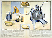 Potato peeler, 1900. Machine for washing, peeling and removing eyes and sprouts from potatoes.   'Les Inventions Illustrees', (Paris, May 1899). Print. Engraving.
