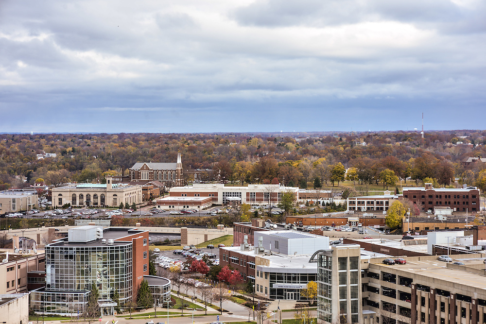 Overhead view of The University of Akron campus.
