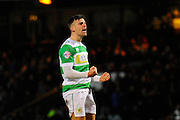 Yeovil Town's Kevin Dawson celebrates scoring his penalty in the shoot-out during the The FA Cup Third Round Replay match between Yeovil Town and Carlisle United at Huish Park, Yeovil, England on 19 January 2016. Photo by Graham Hunt.