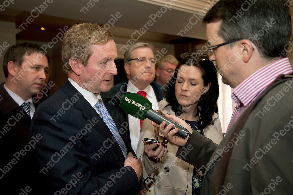 Taoiseach Enda Kenny being interviewed by Clare Fm in Temple Gate Hotel on Friday