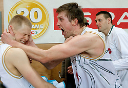 Sasu Salin and Vladimer Boisa of Olimpija celebrate after winning the basketball match between KK Union Olimpija and KK Krka in 3rd Quarterfinal of Spar Slovenian Cup, on February 11, 2011 in Sportna dvorana Poden, Skofja Loka, Slovenia. Union Olimpija defeated Krka 122-113 after 3-overtimes. (Photo By Vid Ponikvar / Sportida.com)