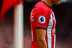 The Premier League badge on the sleeve of Mohamed Elyounoussi of Southampton - Mandatory by-line: Ryan Hiscott/JMP - 12/08/2018 - FOOTBALL - St Mary's Stadium - Southampton, England - Southampton v Burnley - Premier League