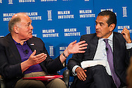 Ed Rendell, left, Former Governor of Pennsylvania; Special Counsel, Ballard Spahr, LLP, and Antonio Villaraigosa, Former Los Angeles Mayor; Professor of Practice of Policy, USC Price School of Public Policy; Former Speaker of the California Assembly, in a panel during the Milken Institute Global Conference on Monday, April 28, 2014 in Beverly Hills, California. (Photo by Ringo Chiu/PHOTOFORMULA.com)