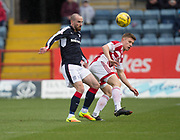 Dundee&rsquo;s James Vincent and Hamilton&rsquo;s Greg Docherty - Dundee v Hamilton Academical in the Ladbrokes Scottish Premiership at Dens Park, Dundee, Photo: David Young<br /> <br />  - &copy; David Young - www.davidyoungphoto.co.uk - email: davidyoungphoto@gmail.com