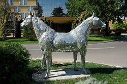 NOVI SAD, SERBIA - Tuesday, September 11, 2012: A statue of a two headed horse Veni Vidi Koni by Doru Bosiok outside the Park Hotel in Novi Sad, Serbia. (Pic by David Rawcliffe/Propaganda)