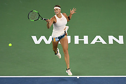 WUHAN, Sept. 29, 2018  Aryna Sabalenka of Belarus returns a shot during the singles final match against Anett Kontaveit of Estonia at the 2018 WTA Wuhan Open tennis tournament in Wuhan, central China's Hubei Province, on Sept. 29, 2018. Aryna Sabalenka won 2-0 and claimed the title. (Credit Image: © Liu Xu/Xinhua via ZUMA Wire)