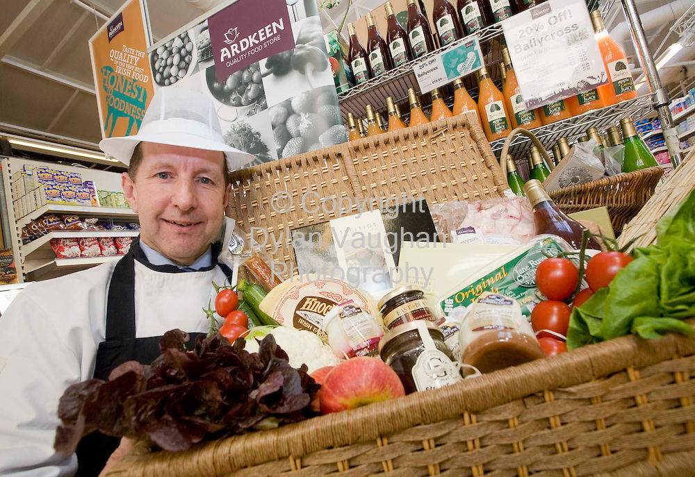 8/9/2008.Eddie Kennedy Deli Manager at Ardkeen Quality Food Store in Waterford pictured with a sample of the local produce on sale at the store..Picture Dylan Vaughan