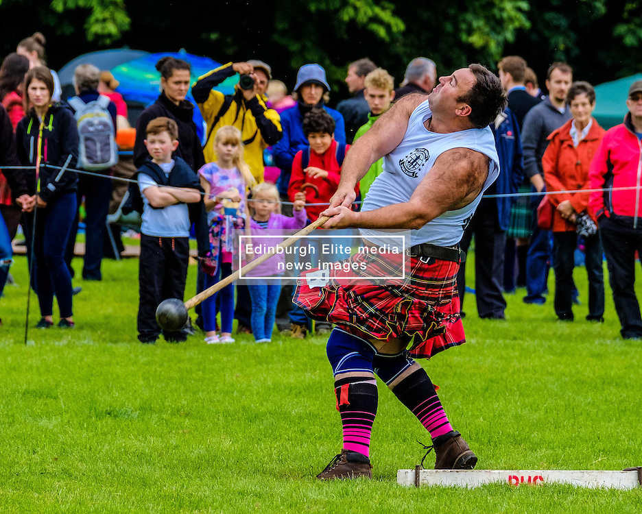 Peebles, Scotland UK  3rd September 2016. Peebles Highland Games, the biggest 'highland' games in the Scottish  Borders took place in Peebles on September 3rd 2016 featuring pipe band contests, highland dancing competitions, haggis hurling, hammer throwing, stone throwing and other traditional events.<br /> <br /> Pictured:  a competitor throws the hammer<br /> <br /> (c) Andrew Wilson   Edinburgh Elite media