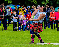 Peebles, Scotland UK  3rd September 2016. Peebles Highland Games, the biggest 'highland' games in the Scottish  Borders took place in Peebles on September 3rd 2016 featuring pipe band contests, highland dancing competitions, haggis hurling, hammer throwing, stone throwing and other traditional events.<br /> <br /> Pictured:  a competitor throws the hammer<br /> <br /> (c) Andrew Wilson | Edinburgh Elite media