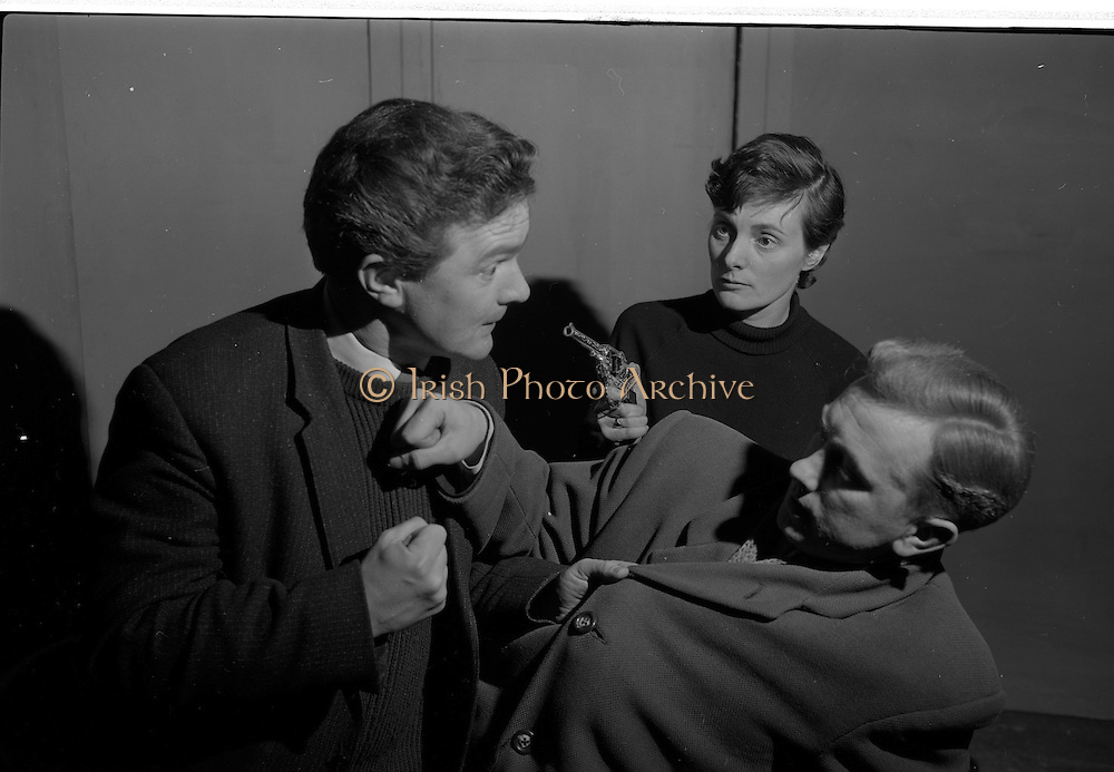"04/03/1964<br /> 03/04/1964<br /> 04 March 1964<br /> Rehearsal of ""La Fheile Mhicil"" at Damer Hall Theatre, Dublin for Gael Linn. ""La Fheile Mhicil"" Eoghan O Tuairisc's Oireachtas prize-winning play was to be staged from 11th March. Picture shows Michael O Ruairc; Brid Seoighe and Risteard Stokes in a scene from the play."
