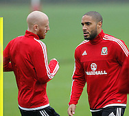 James Collins and Ashley Williams during the Wales Training at the Vale Resort, Hensol<br /> Picture by Mike Griffiths/Focus Images Ltd +44 7766 223933<br /> 10/11/2015