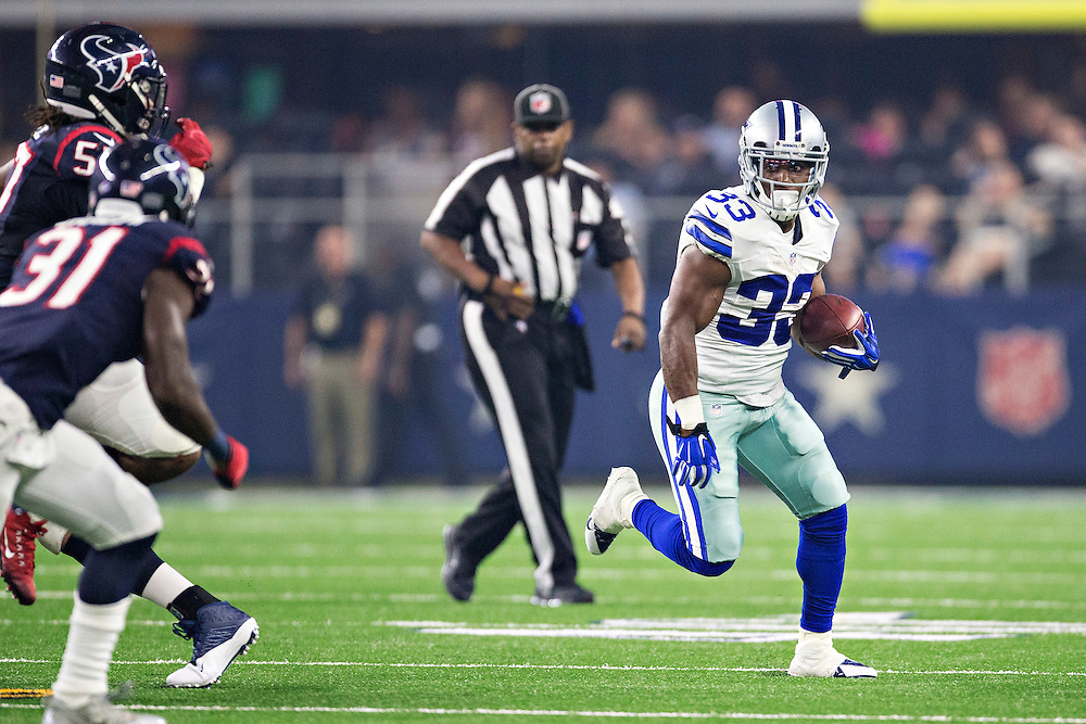 ARLINGTON, TX - SEPTEMBER 3:  Ben Malena #33 of the Dallas Cowboys runs the ball during a preseason game against the Houston Texans at AT&T Stadium on September 3, 2015 in Arlington, Texas.  The Cowboys defeated the Texans 21-14.  (Photo by Wesley Hitt/Getty Images) *** Local Caption *** Ben Malena