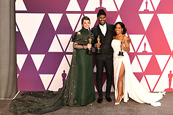 """Olivia Colman, winner of the Best Actress In A Leading Role Award for """"The Favourite""""; Mahershala Ali, winner of the Best Actor In A Supporting Role Award for """"Green Book"""" and Regina King, winner of the Best Actress In A Supporting Role Award for """"If Beale Street Could Talk"""" at the 91st Annual Academy Awards"""