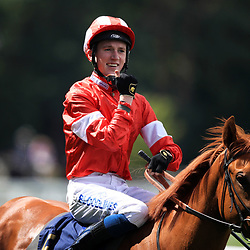 Daahyeh ridden by jockey David Egan celebrates winning the Albany Stakes during day four of Royal Ascot at Ascot Racecourse. Photo : Icon Sport