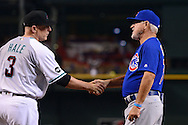 PHOENIX, ARIZONA - APRIL 08:  Chip Hale #3 of the Arizona Diamondbacks and Joe Maddon #70 of the Chicago Cubs shake hands prior to the game at Chase Field on April 8, 2016 in Phoenix, Arizona.  (Photo by Jennifer Stewart/Getty Images)