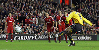 Photo: Paul Thomas.<br /> Liverpool v Arsenal. Carling Cup. 09/01/2007.<br /> <br /> Arsenal's Julio Baptista misses this penalty chance for his hat-trick, but later scores to complete the hat-trick.