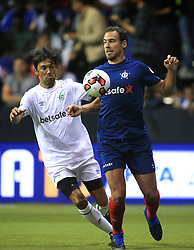 14 July 2017 -  Star Sixes Football - Bruno Cheyrou of France in action with Paulo Ferreira of Portugal - Photo: Marc Atkins / Offside.