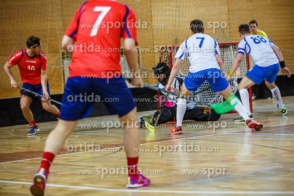 Floorball match between Norway vs Slovenia at World Championship 2016 Qualifiactions in Skofja Loka, Slovenija on 2nd of February.  Photo by Grega Valancic / Sportida