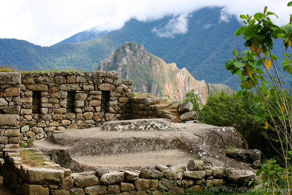 South America, Peru, Machu Picchu. Inca Trail ruin.