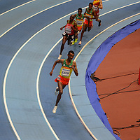 Yomif Kejelcha competes in the men's 3000m at the IAAF World Indoor Championships, March 4, 2018