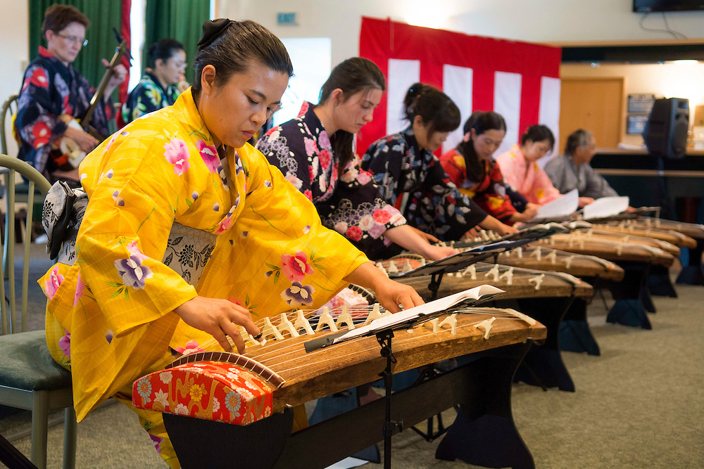Chiharu Kuze, front,  a member of the Koyu Kai group plays a Koto  at the Canterbury Japan Day, Christchurch , New Zealand, Sunday, 23 February, 2014.  <br /> Credit:SNPA / David Alexander