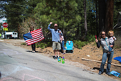 Spectators cheer on the riders on Stage 2 of the Amgen Tour of California - a 108 km road race, starting and finishing in South Lake Tahoe on May 18, 2018, in California, United States. (Photo by Balint Hamvas/Velofocus.com)