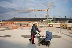Sunday, an Open day for visitors three months before the end of building a new football stadium and sports arena in Stozice, on May 9, 2010, in Stozice, Ljubljana, Slovenia.  (Photo by Vid Ponikvar / Sportida)