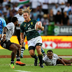 Action from the 2018 HSBC World Sevens Series Hamilton final between Fiji and South Africa at FMG Stadium in Wellington, New Zealand on Sunday, 4 February 2018. Photo: Simon Watts / lintottphoto.co.nz