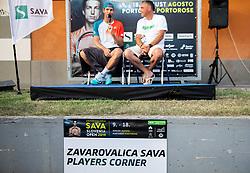 Blaz Rola of Slovenia and Gasper Bolhar in players corner after winning Singles in Quarter - Final of ATP Challenger Zavarovalnica Sava Slovenia Open 2019, day 8, on August 16, 2019 in Sports centre, Portoroz/Portorose, Slovenia. Photo by Vid Ponikvar / Sportida
