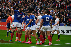 February 2, 2020, Saint Denis, Seine Saint Denis, France: Joy of the French Team after his first try during the Guinness Six Nations Rugby tournament between France and  England at the Stade de France - St Denis - France.. France won 24-17 (Credit Image: © Pierre Stevenin/ZUMA Wire)