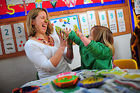 Picture By Jim Wileman  09/02/2009  Relationship picture taken at Dimson Day Nursery, Dimson, Gunnislake, Cornwall. Parent Emma finger painting with her daughter Lucy.