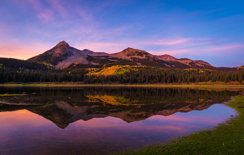Lost Lake at Sunrise on Kebler Pass in Colorado.<br /> <br /> Camera <br /> NIKON D610<br /> Lens <br /> 18.0-35.0 mm f/3.5-4.5<br /> Focal Length <br /> 18<br /> Shutter Speed <br /> 1/4<br /> Aperture <br /> 5.6<br /> ISO <br /> 100