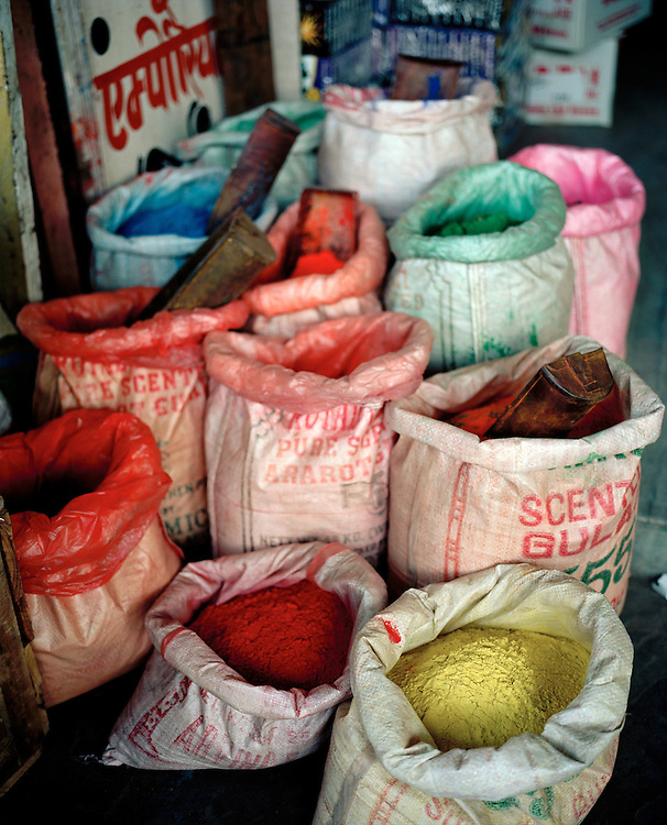 Bags of powder dyes in India, India