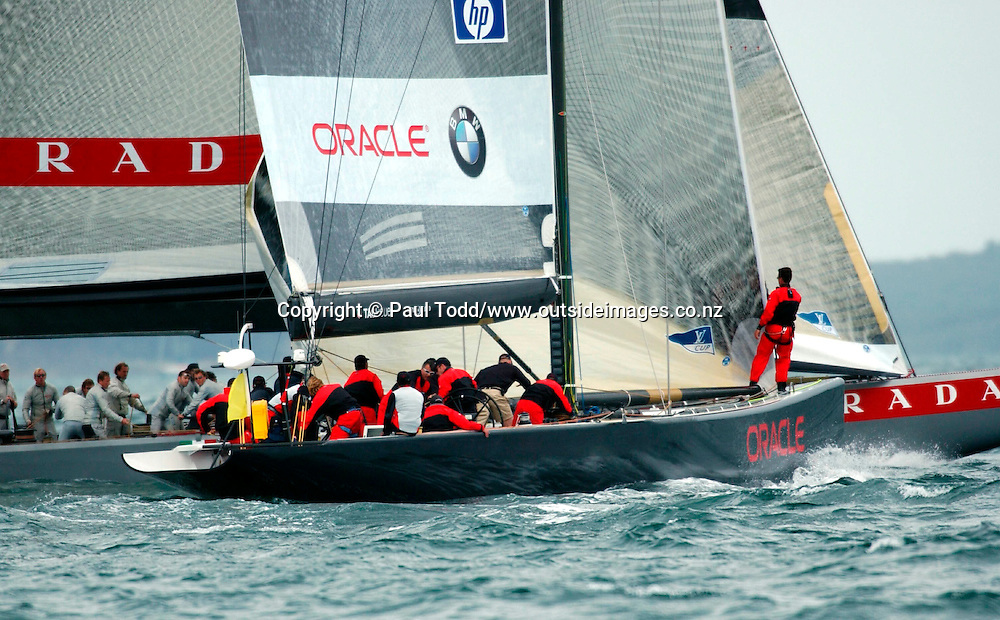 Louis Vuitton Cup 2002 Round Robin 1: 01-14 October 2002<br /> Oracle BMW Racing lines up Prada Challenge on starboard tack in a prestart manoeuvre<br />Please Credit: Paul Todd/ Photosport