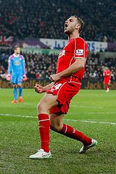 Jordan Henderson of Liverpool celebrates scoring a goal to make it 0-1 - Photo mandatory by-line: Rogan Thomson/JMP - 07966 386802 - 16/03/2015 - SPORT - FOOTBALL - Swansea, Wales — Liberty Stadium - Swansea City v Liverpool - Barclays Premier League.
